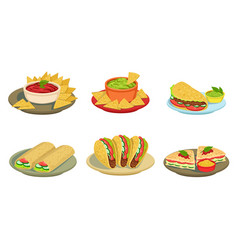 collection delicious mexican cuisine food vector image