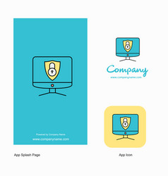 computer protected company logo app icon and vector image