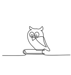 continuous one line drawing owl sitting on book vector image