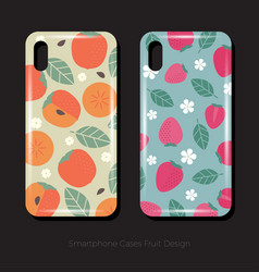 Cover smartphone persimmon strawberry leaves flowe vector