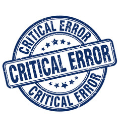 Critical error blue grunge stamp vector