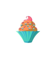 Cute cupcake with sprinkles vector