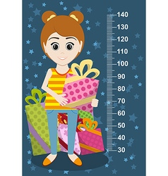 Cute girl with gifts meter wall from 30 to 140 vector