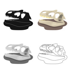 dinosaur fossils icon in cartoon style isolated on vector image