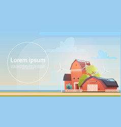 eco farming farm house farmland countryside vector image