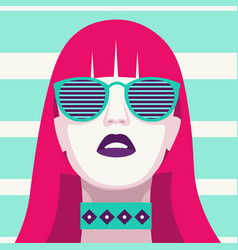 Fashion woman with sunglasses art portrait flat vector