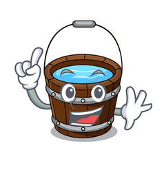 finger wooden bucket mascot cartoon vector image