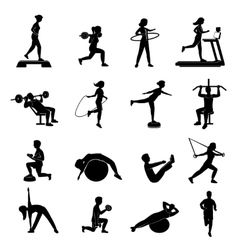 Fitness men women blackicons set vector