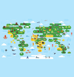 flat style abstract world map with animals vector image