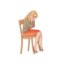 Flat woman sits at chair crying vector
