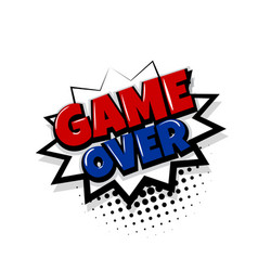 Game over comic text white background vector