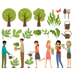 Gardening trees and plants people with flowers vector