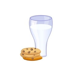 Glass Of Milk And Cookies Based Product Isolated vector image