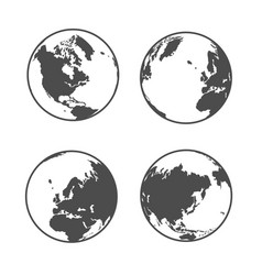 globe earth icons set on white background vector image