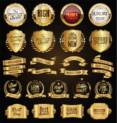 golden badges and labels retro vintage design vector image
