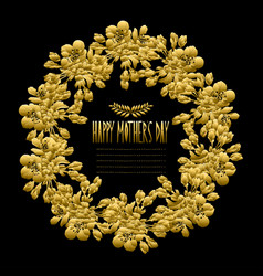 Golden floral wreath vector