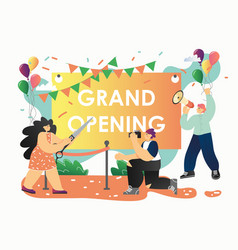 Grand opening ceremony flat style design vector