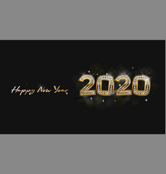 greeting card happy new year 2020 diamond with vector image