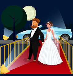 groom and bride at vip event vector image