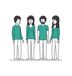 group of people with green clothes vector image