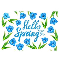 Hello spring greeting card Hand drawn with wood vector image