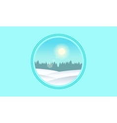 Icon hill landscape flat vector