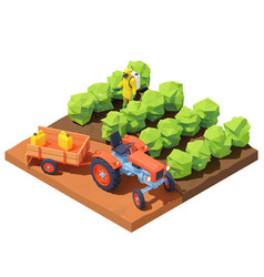 Isometric farmer spraying pesticides vector