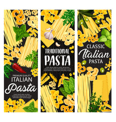 Italian pasta shapes with garlic basil and olives vector