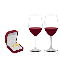 Jewellery box with ring and wineglasses vector