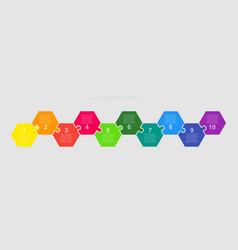 Jigsaw puzzle hexagon info graphic 10 steps vector