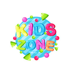 kids zone logo template design bright colorful vector image