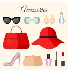 Lady fashion accessories set in flat style vector