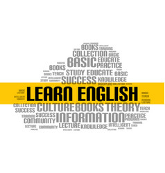 Learn english word cloud course education vector