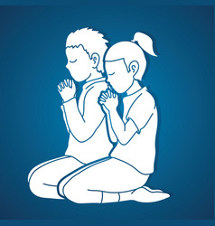 little boy and girl praise god prayer christian vector image