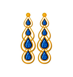 Long gold earrings with sapphire vector