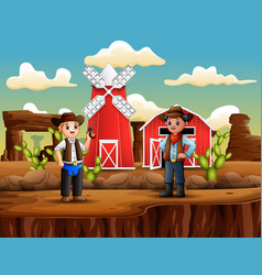 man thieve with cowboy in wild west landscape vector image