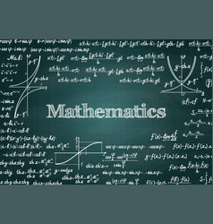 Mathematical green chalkboard background vector