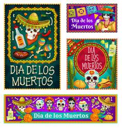 mexican dia de los muertos sugar skulls catrina vector image