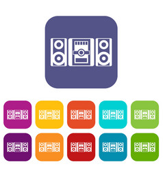music center icons set vector image