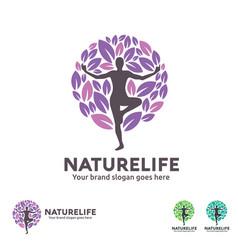 nature life yoga logo vector image