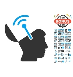 Open Brain Radio Interface Icon With 2017 Year vector