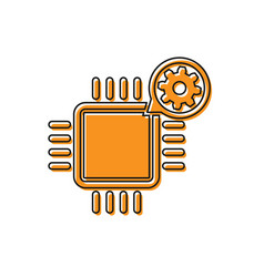 Orange processor and gear icon isolated on white vector