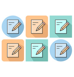 outlined icon of document and pencil with vector image