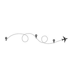 plane path with location pins vector image