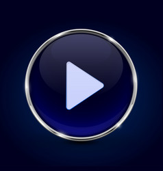 play button blue 3d icon on dark blue background vector image