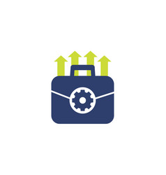 Portfolio optimization and growth icon on white vector