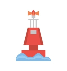 red marker buoy ocean light navigation vector image