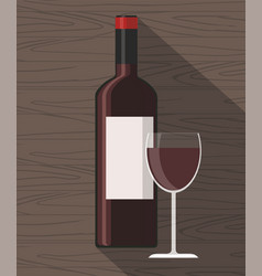 Red wine bottle and wine glass vector
