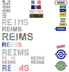 Reims text design set vector