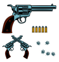 Revolver colorful gun bullets and holes design vector